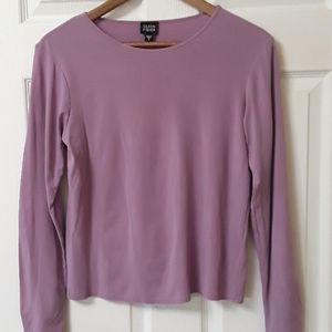 Eileen Fisher Sz S Lavender 100% Silk long sleeve